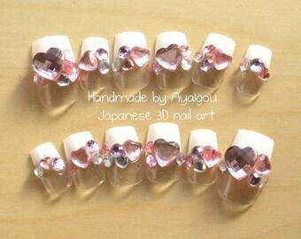 Kawaii nails, lolita fashion, sweet lolita, nail set, Japanese nail, 3D nails, fake nails, press on nails, french nail, nail gem, heart