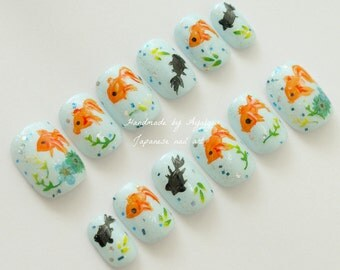 Japanese nail, aqua blue, goldfish, koi fish, aquarium, sea, short nail, hand painted, Japanese art, cute nail, fake nail, kimono, asian,