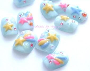 Fairy kei, shooting star, lolita accessory, sweet lolita, Harajuku, Japanese 3D nail, star 3D nail, pastel, kawaii, deco nails, short nails