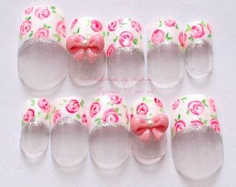 3D nails, lolita, kawaii, white french tips, floral print, bows, Japanese nail art
