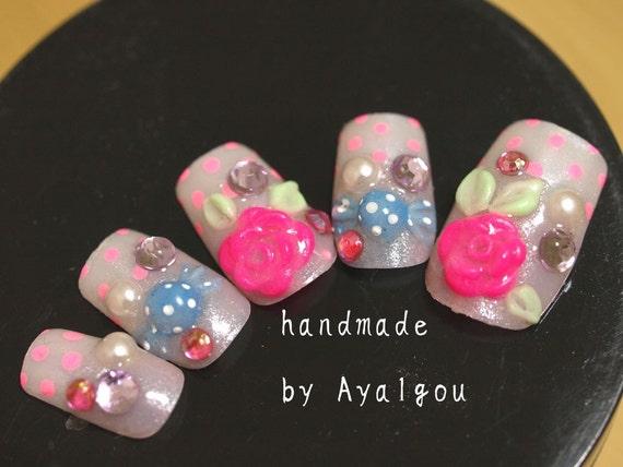 Nails, glue on nails, 3D nail, Japanese nail art, Harajuku, pop kei, sweet lolita, fairy kei, lolita accessory, kawaii nail, gyaru nail,