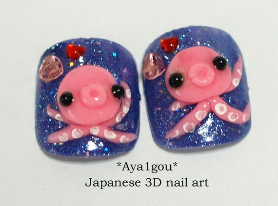 Toe nails, press on nails, octopus, 3D nail, kawaii nails, pedicure, sea, navy nail, blue nail, pink, funny nail art, tentacles