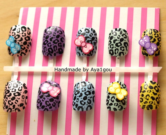 Japanese 3D nails, leopard printed multi colored nails set, ready to ship