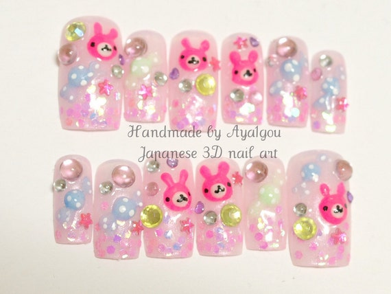 Long nail, 3D nail, Japanese, kawaii, rabbit, bunny, candy, glitter, pink, decoden, fake sweets, lolita accessory, cute nail, deco nail