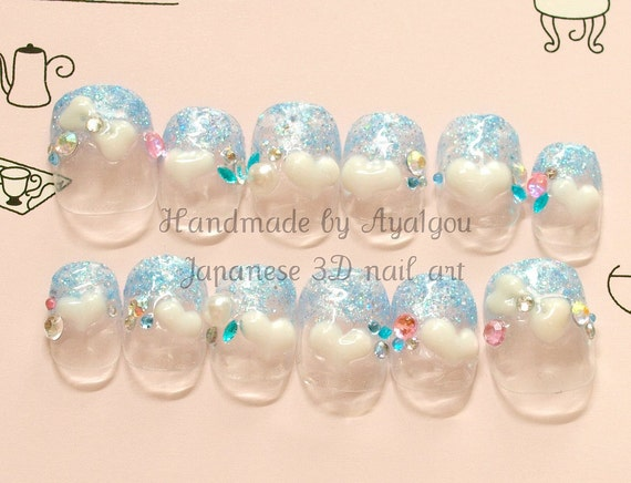 Short nail, blue nail, fairy kei, glittery, glue on nail, press on nail, 3D nail, heart, kawaii nail, deco nail, dope, Japanese 3D nail,