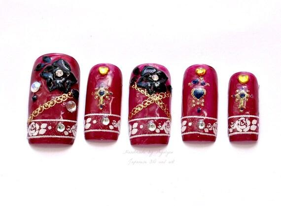 EGL, gothic lolita, dark, vampire, rose, 3D nails, japanese nail art