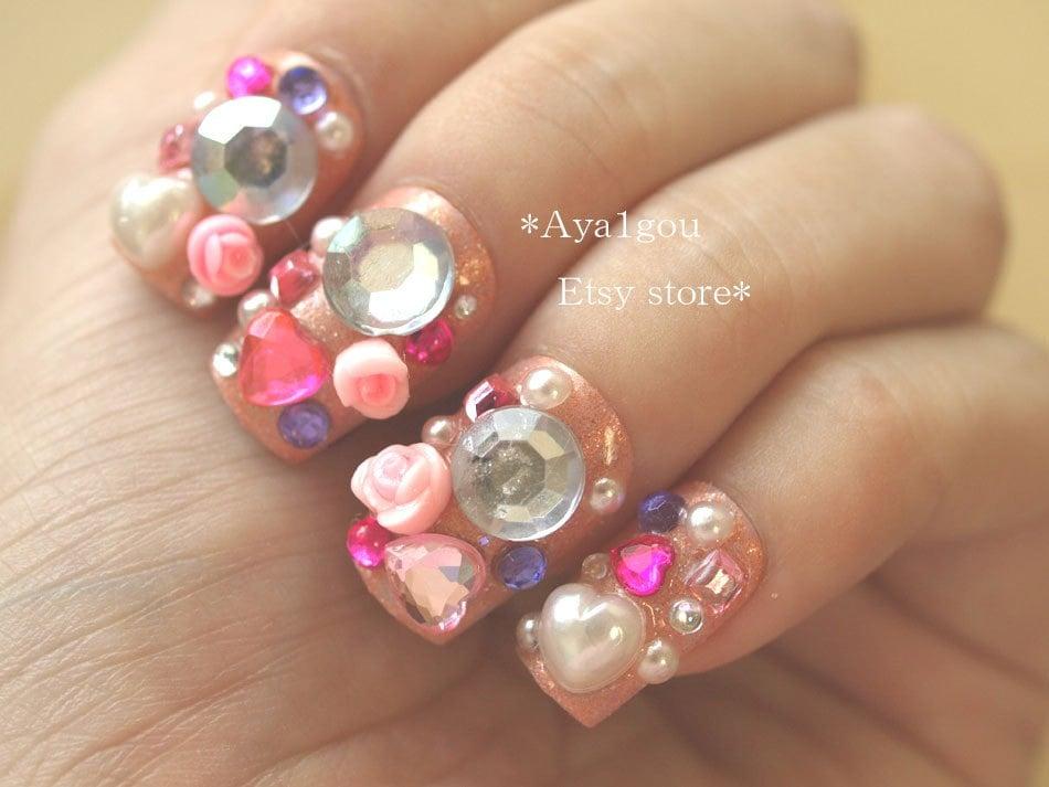 Nails pink nail 3d nail rose nail deco nail japanese by aya1gou