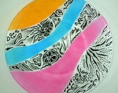 Hand painted modern glass plate - Black designs with yellow-orange, blue and pink bands