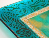 Turquoise Gribouillage - Hand painted glass plate (medium)