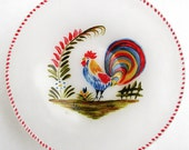 Quimper rooster - Hand painted glass bowl
