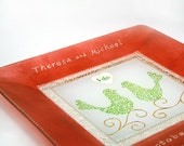 Hand painted custom personalized engagement, wedding or anniversary glass plate - Crimson & lime green lovebirds