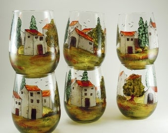 Hand painted glasses - Set of 6 stemless white wine glasses  - Village Provencal collection