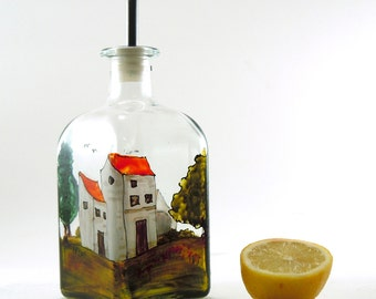 Painted oil bottle - Small hand painted glass dispenser for oil, vinegar, soap or detergent - Village Provencal collection