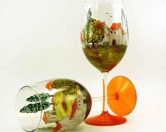 Hand painted glasses - Set of 2 white wine glasses  - Village Provencal collection