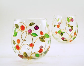 Stemless wine glasses - Set of 2 red wine glasses -  Lydie Collection - Gold vines with orange and pink fruit