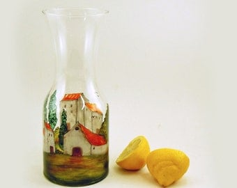 Carafe - Hand painted glass carafe - Village Provencal collection