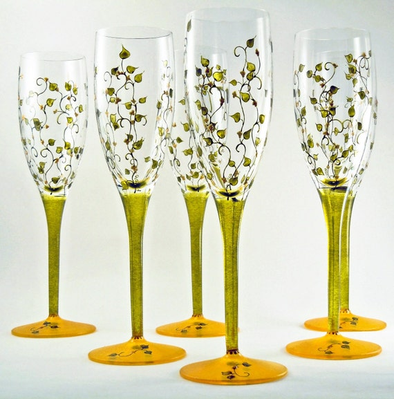 Hand painted champagne glasses set of 6 by butterflyrougestudio - Hand blown champagne flutes ...