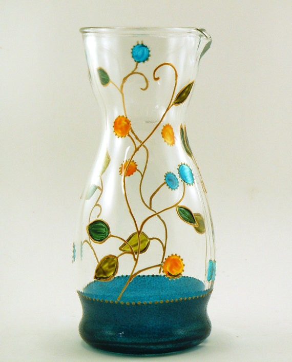 Glass Pitcher With Lid Hand Painted By Butterflyrougestudio