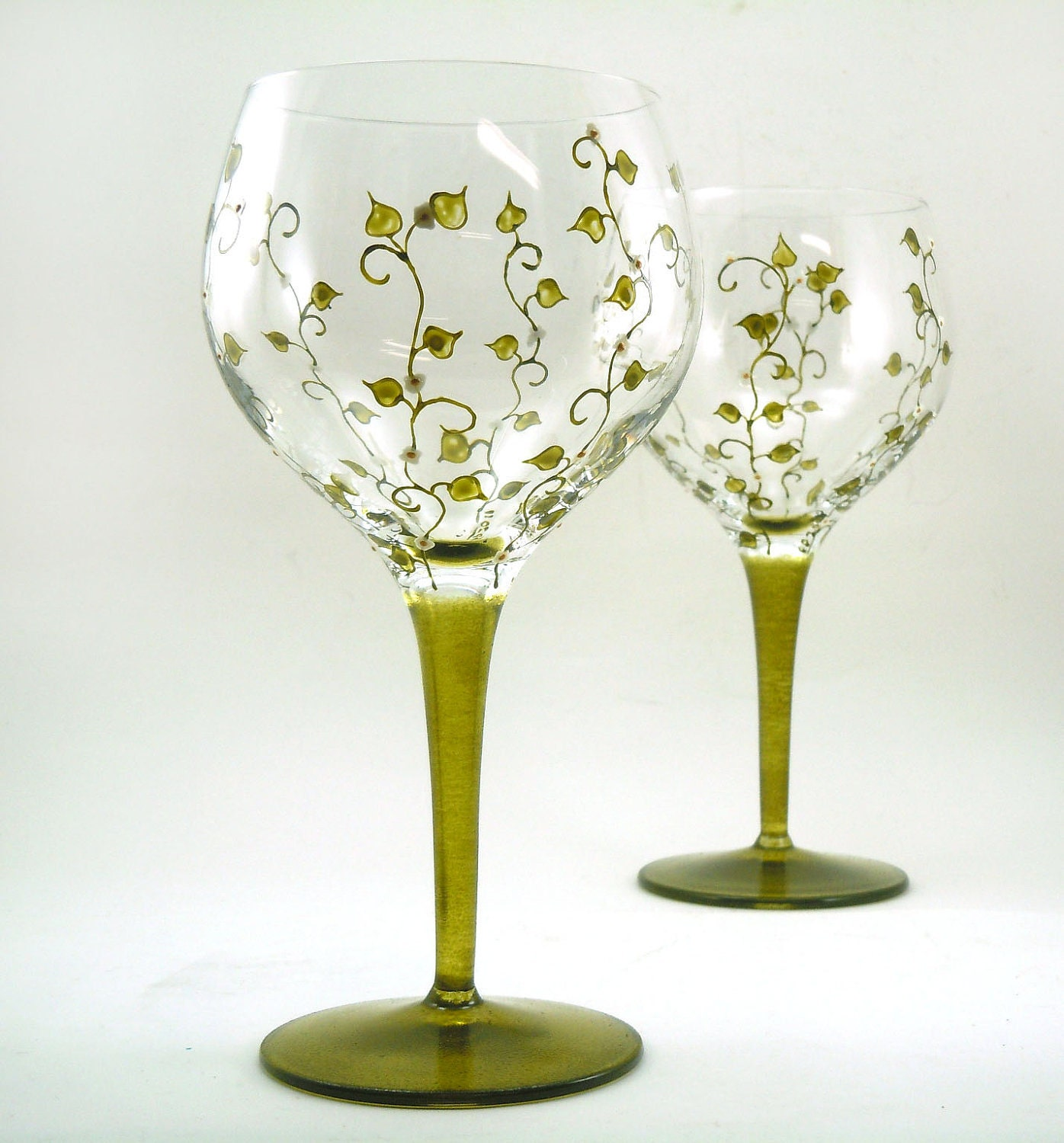 Hand painted glasses set of 2 blown by butterflyrougestudio Images of painted wine glasses