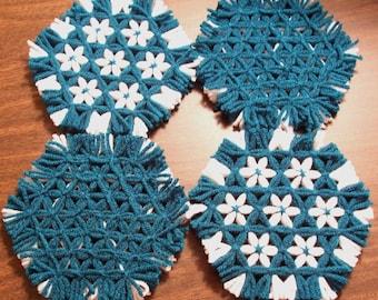 Hexagon Lap Weave Coaster Set