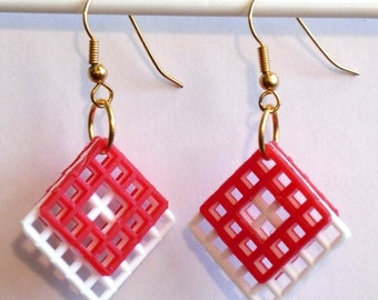 Plastic Canvas Earrings -  White and Red
