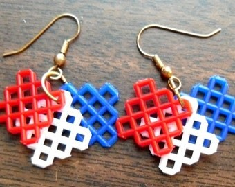 Plastic Canvas Earrings - Red, White, Blue