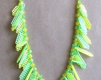 Plastic Canvas Necklace - Bright Yellow and Bright Green