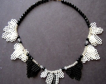 Plastic Canvas Necklace - Black and White