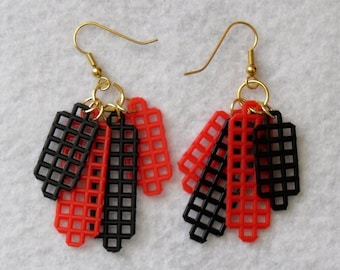 Plastic Canvas Earrings - Red and Black