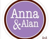 Personalized Wedding Stickers . 2 Names with Ampersand for Favors, Candy Buffet or Packaging . 2, 2.5 or 3.3 inches