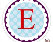 Monogram on Dots . Personalized Stickers, Labels or Envelope Seals