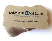 50 Custom Printed Bracket Card (top note) for Business Cards, Favor Tags or Product Labels . Starter Set (Kraft or White)