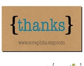 20 Personalized THANKS (Bracket Type) Tags on Kraft . 2 x 3.5 inches