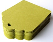 45 Large Scallop Top Price Tags in Chartreuse (green) for Escort Cards, Favor Tags or Packaging . 2.5 x 3