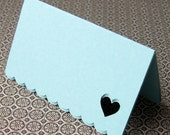 Open Heart Mini Notes . Folded Cards with Scallop Edge in Pool (blue) . Set of 12 for use as Escort Cards, Gift Tags or Place Cards