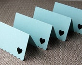 Open Heart Mini Notes . Folded Cards with Scallop Edge in Pool (blue) . Set of 16 for use as Escort Cards, Gift Tags or Place Cards