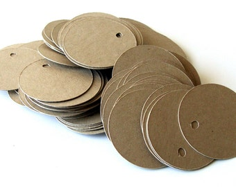 100 Small Circle Tags, Round Kraft Tags . 1.25 inch diameter