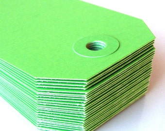25 Green Manilla Medium (size 3) Parcel Shipping Tags . 3.75 x 1.875