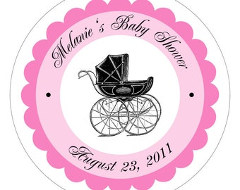 Antique Pram Personalized Baby Shower Stickers or Tags