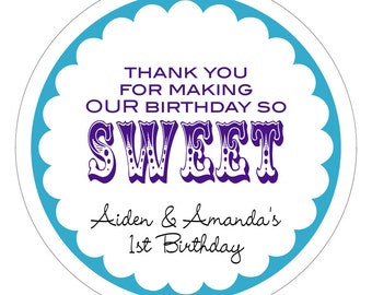 Thank You for Making My Birthday So Sweet Personalized Stickers, Labels or Tags