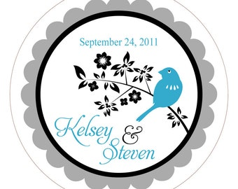 Bird on a Branch . Personalized Wedding Stickers, Labels or Tags