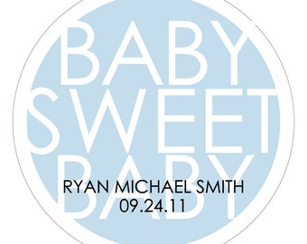 Baby Sweet Baby . Personalized Baby Shower Stickers or Tags