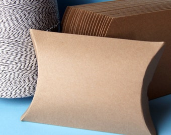1 Medium Kraft Pillow Box Sample . 4.5 x 4.5 x 1.5