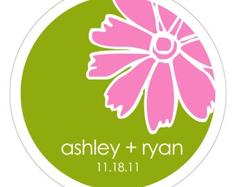 Doodle Flower . Personalized Wedding Stickers, Labels or Tags