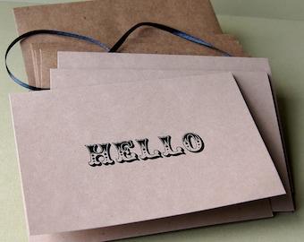 Hello . Vintage Circus Sentiments KRAFT Note Card Set
