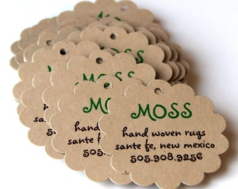 20 Reprints for 2 inch ROUND SCALLOP Cardstock Tags . Repeat Orders