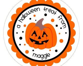 Party Pumpkin . Personalized Halloween Sticker, Jar Labels or Tags