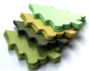 40 Christmas Tree Die Cuts in Green (Parakeet, Ivy, Lime, Chartreuse) . 1.75 x 2.25