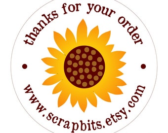 Personalized Sunflower Stickers, Sunflower Thank You Tags or Jar Labels