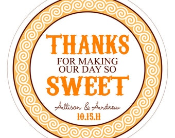 Thanks So Sweet Personalized Wedding Stickers, Labels or Tags